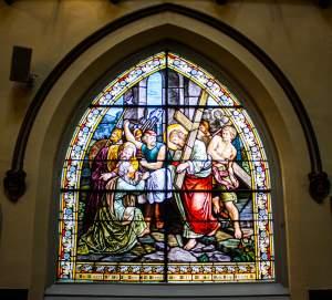 Stained-glass window, St. Veronica's Catholic Church, New York, New York