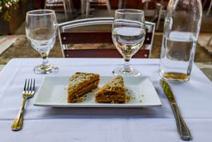 Honey-walnut cake, Old Tbilisi Garden, New York, New York